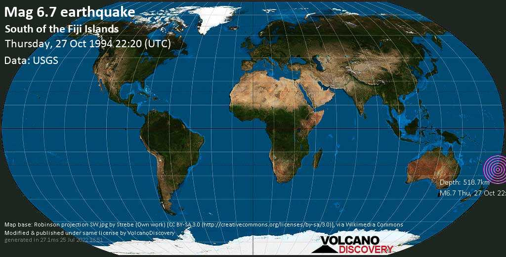 Strong mag. 6.7 earthquake  - South of the Fiji Islands on Thursday, 27 October 1994 at 22:20 (GMT)