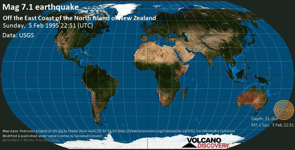Major mag. 7.1 earthquake  - Off the East Coast of the North Island of New Zealand on Sunday, 5 February 1995