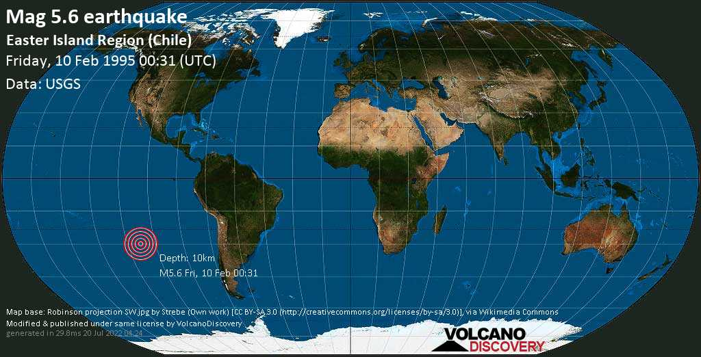 Moderate mag. 5.6 earthquake  - Easter Island Region (Chile) on Friday, 10 February 1995 at 00:31 (GMT)