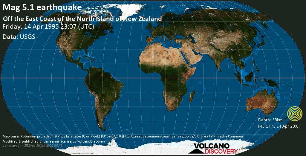 Moderate mag. 5.1 earthquake  - Off the East Coast of the North Island of New Zealand on Friday, 14 April 1995 at 23:07 (GMT)