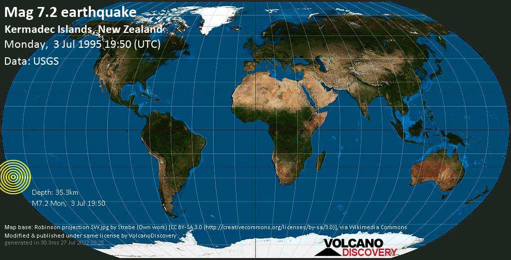 Major mag. 7.2 earthquake  - Kermadec Islands, New Zealand, on Monday, 3 July 1995 at 19:50 (GMT)