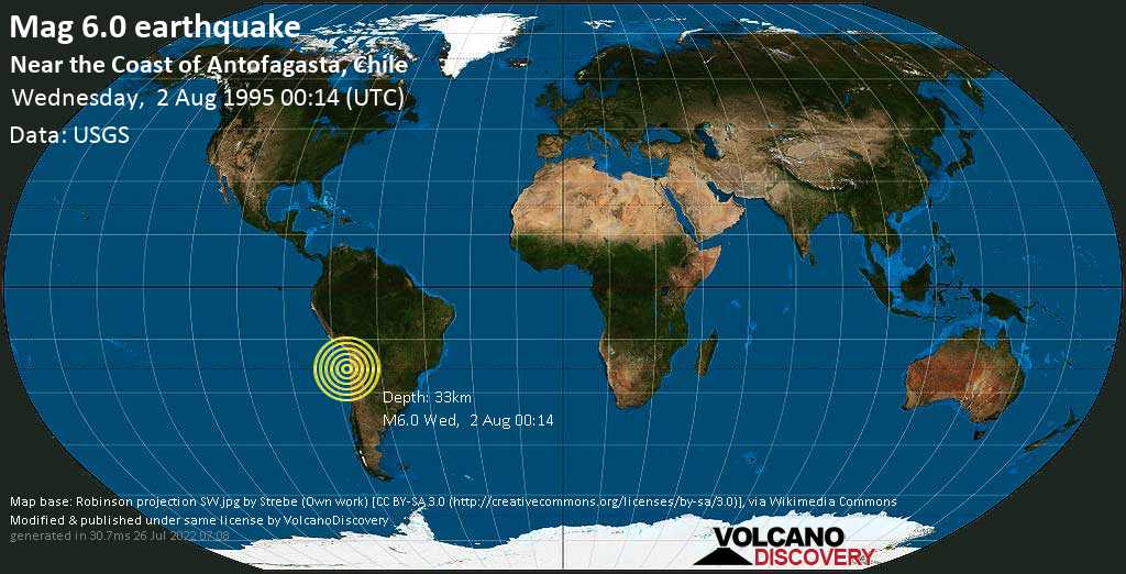 Strong mag. 6.0 earthquake  - Near the Coast of Antofagasta, Chile on Wednesday, 2 August 1995