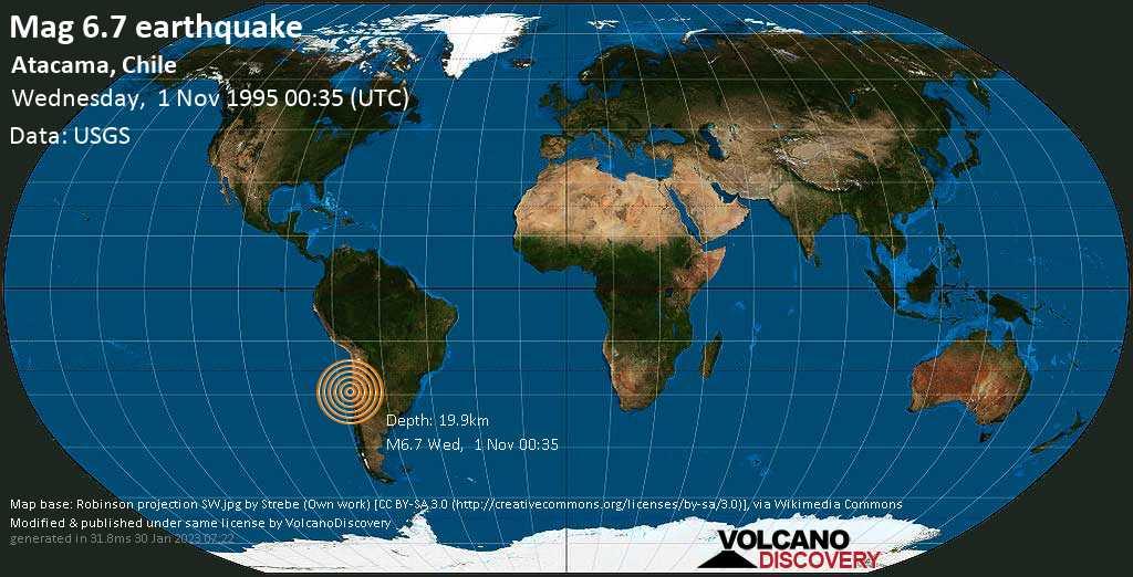 Strong mag. 6.7 earthquake  - Atacama, Chile on Wednesday, 1 November 1995