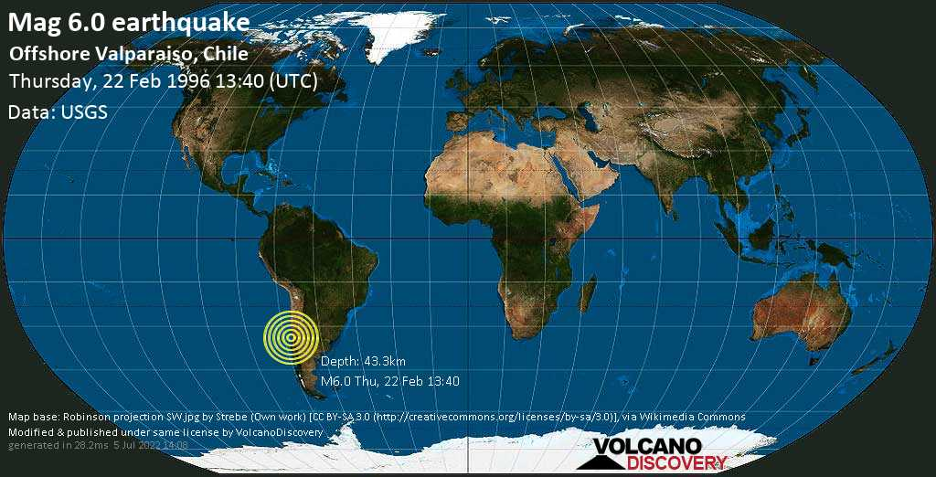 Strong mag. 6.0 earthquake - South Pacific Ocean, 10.4 km southwest of San Antonio, Valparaiso, Chile, on Thursday, 22 February 1996 at 13:40 (GMT)