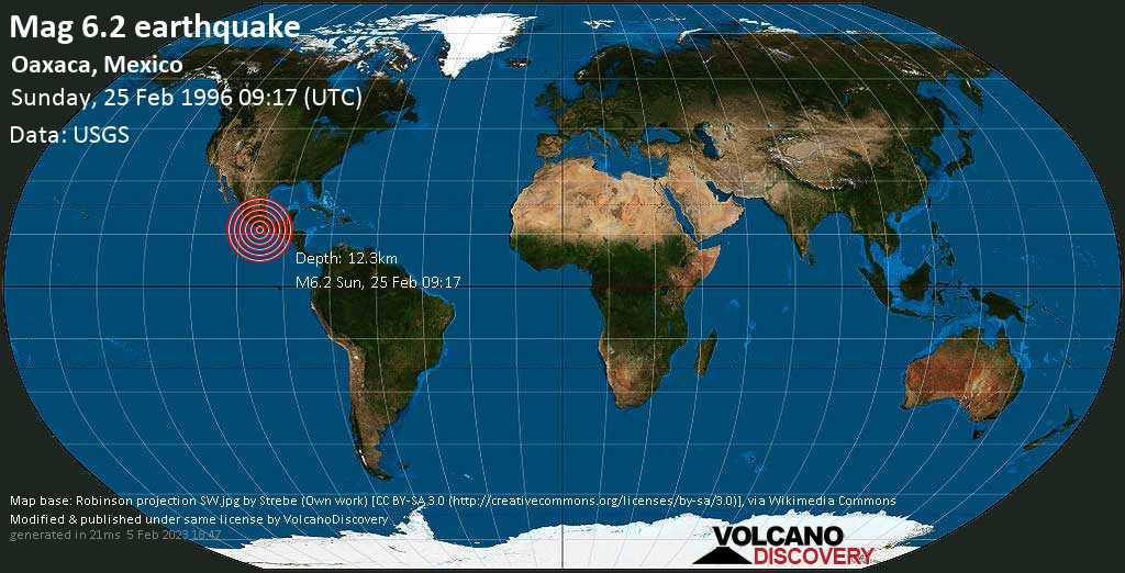 Strong mag. 6.2 earthquake  - Oaxaca, Mexico on Sunday, 25 February 1996
