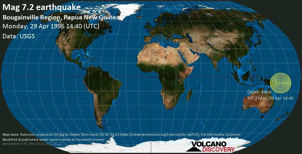 Major mag. 7.2 earthquake  - Bougainville Region, Papua New Guinea on Monday, 29 April 1996