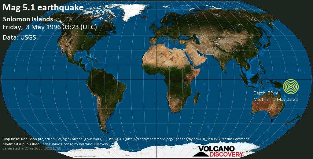 Moderate mag. 5.1 earthquake  - Solomon Islands on Friday, 3 May 1996 at 03:23 (GMT)