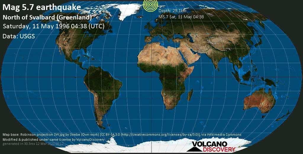 Strong mag. 5.7 earthquake - North of Svalbard (Greenland) on Saturday, May 11, 1996 at 04:38 (GMT)