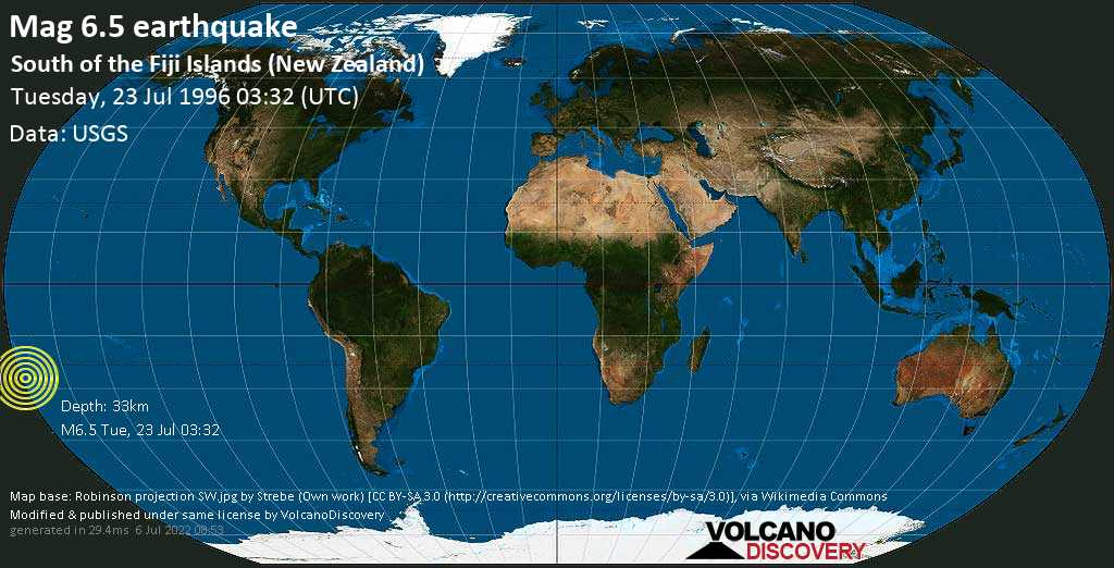 Strong mag. 6.5 earthquake  - South of the Fiji Islands (New Zealand) on Tuesday, 23 July 1996 at 03:32 (GMT)