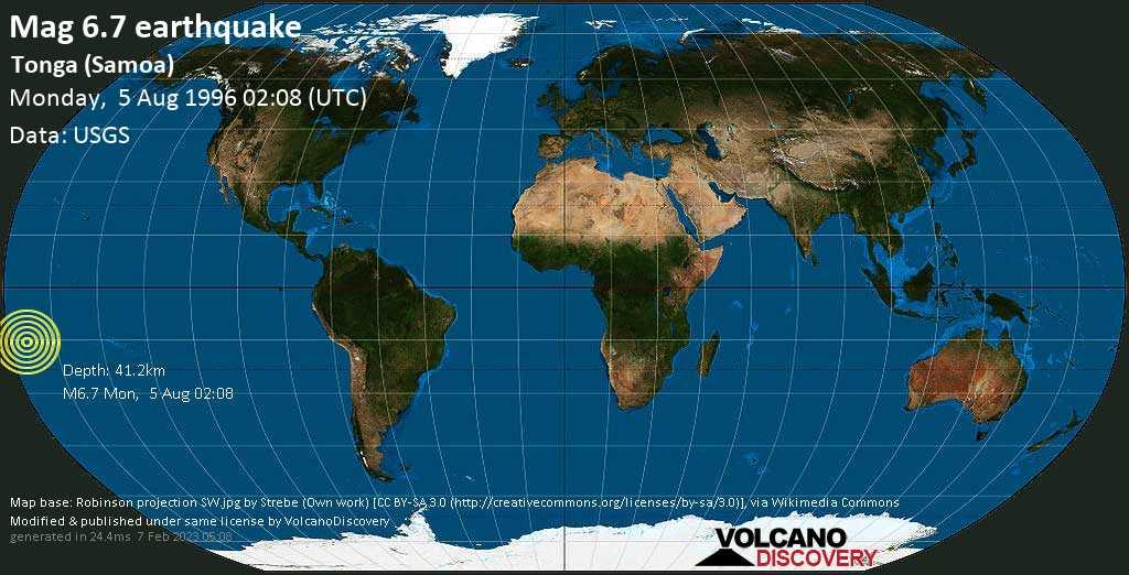 Strong mag. 6.7 earthquake  - Tonga (Samoa) on Monday, 5 August 1996 at 02:08 (GMT)