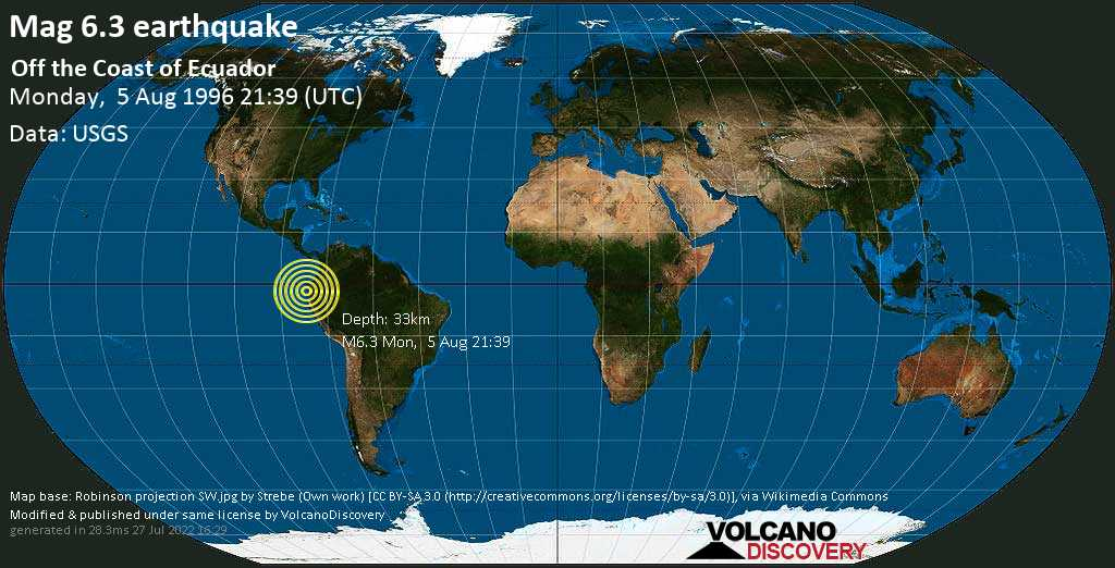 Very strong mag. 6.3 earthquake - South Pacific Ocean, 28 km north of La Libertad, Provincia del Guayas, Ecuador, on Monday, August 5, 1996 at 21:39 (GMT)