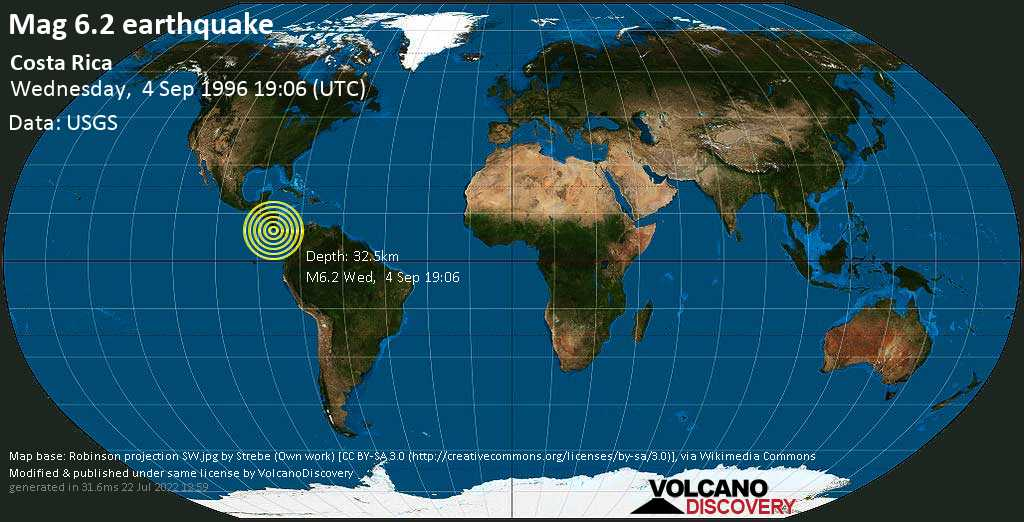 Strong mag. 6.2 earthquake - North Pacific Ocean, 66 km south of San Jose, San José, Costa Rica, on Wednesday, September 4, 1996 at 19:06 (GMT)