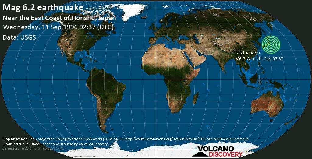 Strong mag. 6.2 earthquake  - Near the East Coast of Honshu, Japan on Wednesday, 11 September 1996