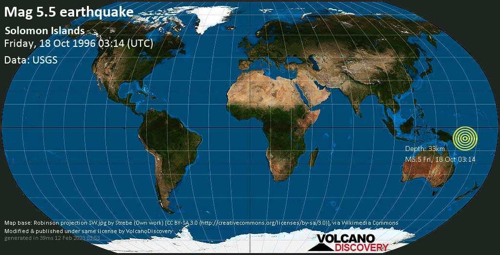 Moderates Erdbeben der Stärke 5.5 - Solomon Islands, am Freitag, 18. Okt 1996 um 03:14 GMT