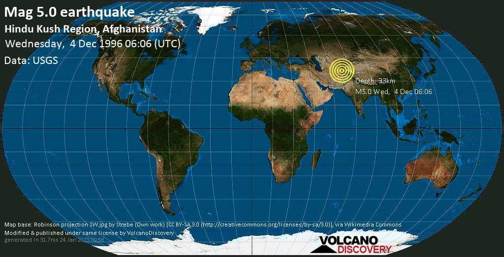Moderate mag. 5.0 earthquake - 54 km north of Baghlan, Baghlān-e Jadīd, Baghlan, Afghanistan, on Wednesday, 4 December 1996 at 06:06 (GMT)