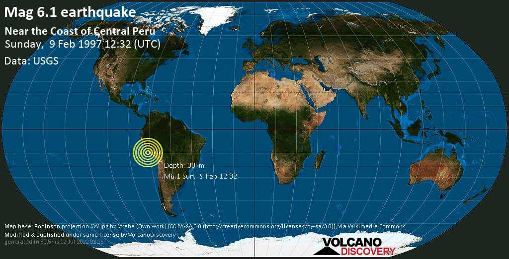 Strong mag. 6.1 earthquake - South Pacific Ocean, 75 km southwest of Ica, Peru, on Sunday, 9 February 1997 at 12:32 (GMT)