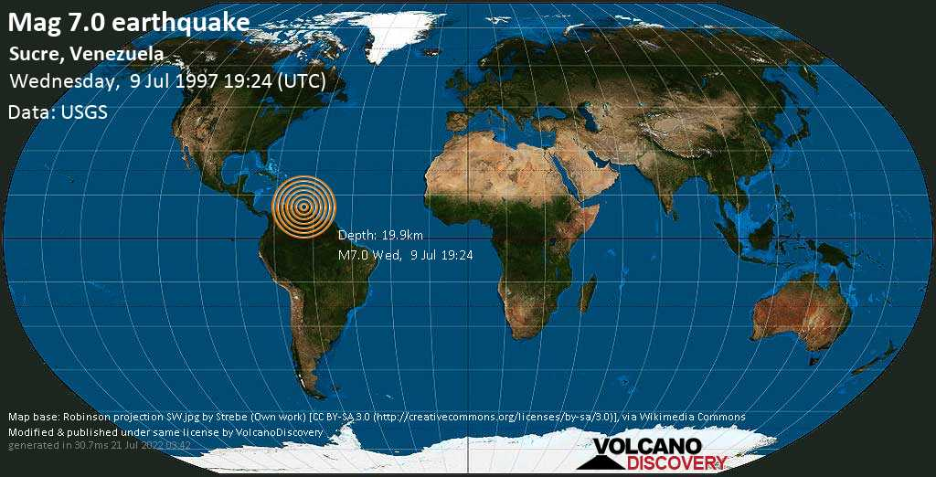 Major magnitude. 7.0 earthquake  - Sucre, Venezuela, on Wednesday, 9 July 1997 at 19:24 (GMT)