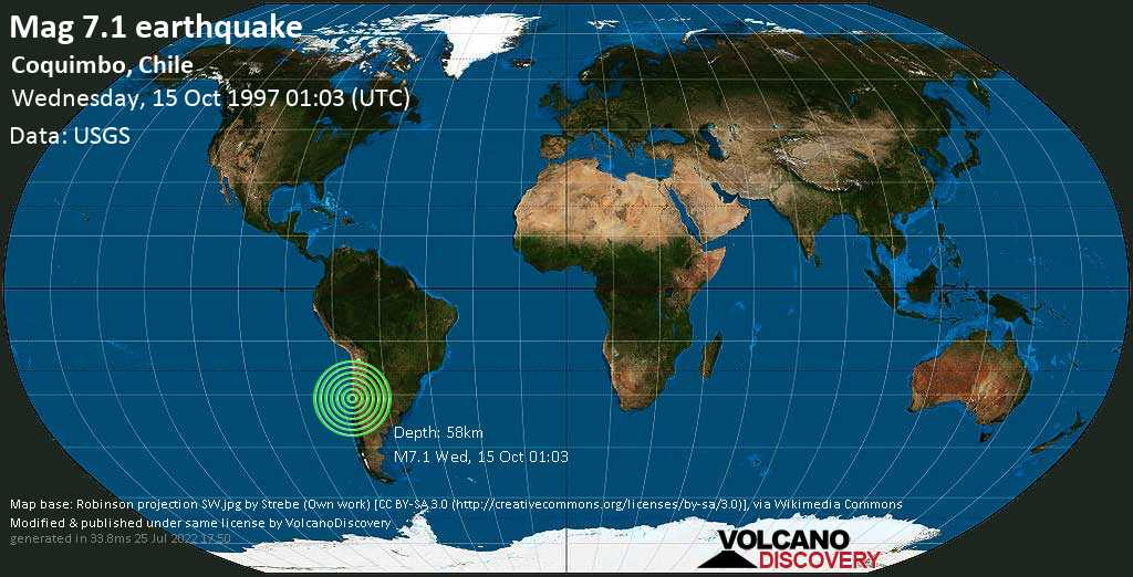 Major mag. 7.1 earthquake  - Coquimbo, Chile on Wednesday, 15 October 1997