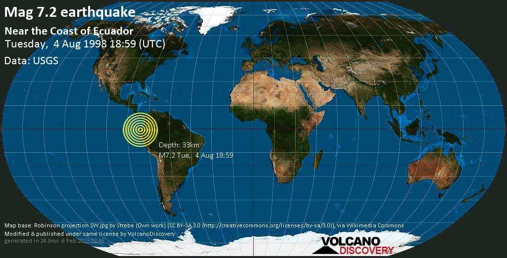 Major magnitude 7.2 earthquake - San Vicente, 3.5 km east of Caracas, Canton Sucre, Provincia de Manabi, Ecuador, on Tuesday, August 4, 1998 at 18:59 (GMT)