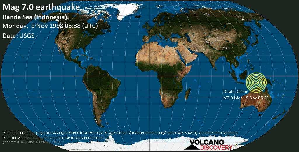 Major mag. 7.0 earthquake  - Banda Sea (Indonesia) on Monday, 9 November 1998