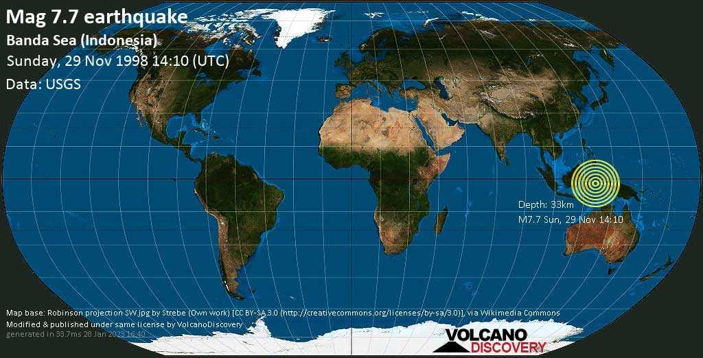 Major mag. 7.7 earthquake  - Banda Sea (Indonesia) on Sunday, 29 November 1998
