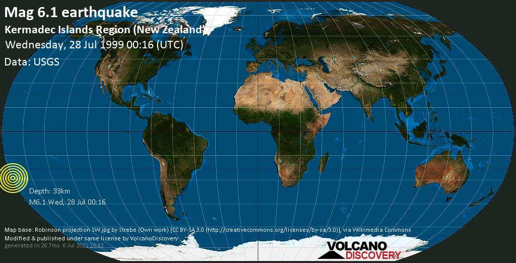 Strong mag. 6.1 earthquake  - Kermadec Islands Region (New Zealand) on Wednesday, 28 July 1999 at 00:16 (GMT)