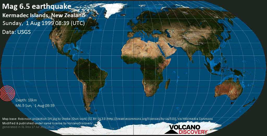 Strong mag. 6.5 earthquake  - Kermadec Islands, New Zealand, on Sunday, 1 August 1999 at 08:39 (GMT)