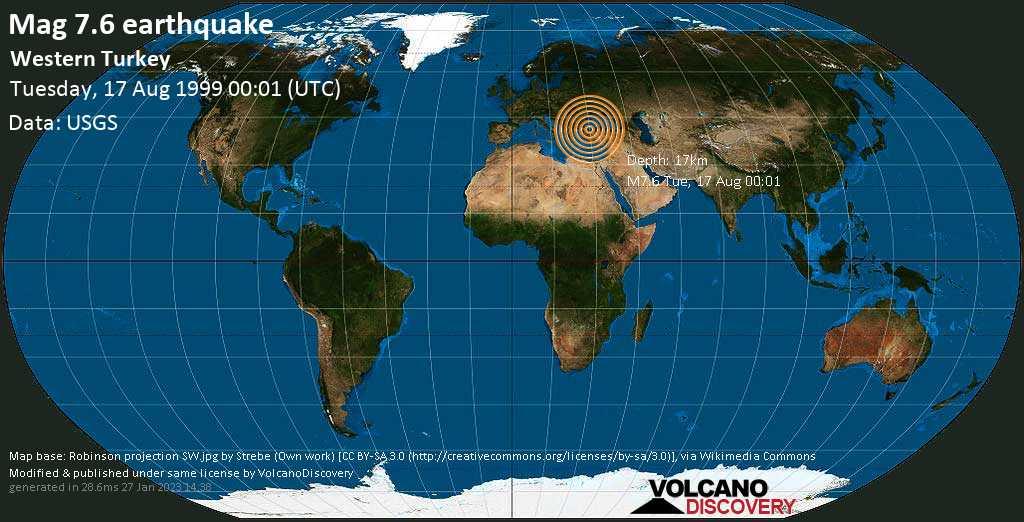 Major magnitude 7.6 earthquake - Sea of Marmara, 4.3 km east of Derince, Kocaeli, Turkey, on Tuesday, August 17, 1999 at 00:01 (GMT)