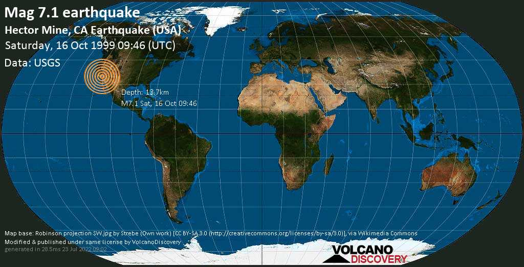 Major mag. 7.1 earthquake  - Hector Mine, CA Earthquake (USA) on Saturday, 16 October 1999