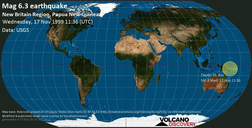 Strong mag. 6.3 earthquake  - New Britain Region, Papua New Guinea on Wednesday, 17 November 1999