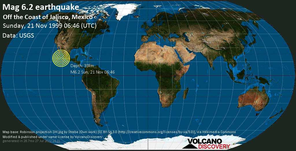 Strong mag. 6.2 earthquake  - Off the Coast of Jalisco, Mexico, on Sunday, 21 November 1999 at 06:46 (GMT)