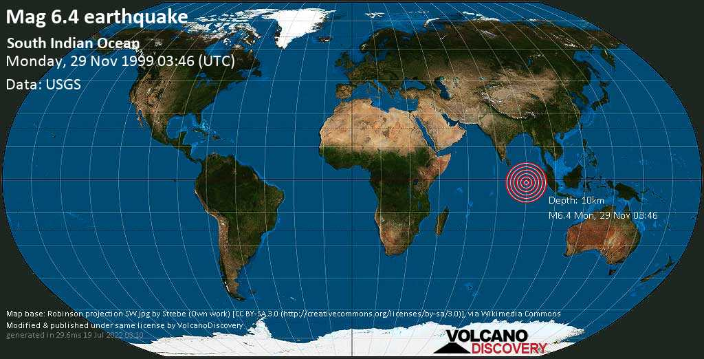 Strong mag. 6.4 earthquake  - South Indian Ocean on Monday, 29 November 1999 at 03:46 (GMT)