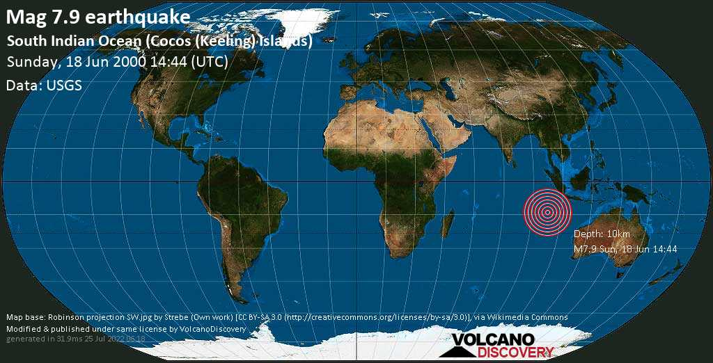 Major magnitude 7.9 earthquake - Indian Ocean, 195 km south of West Island, Cocos (Keeling) Islands, on Sunday, 18 June 2000 at 14:44 (GMT)