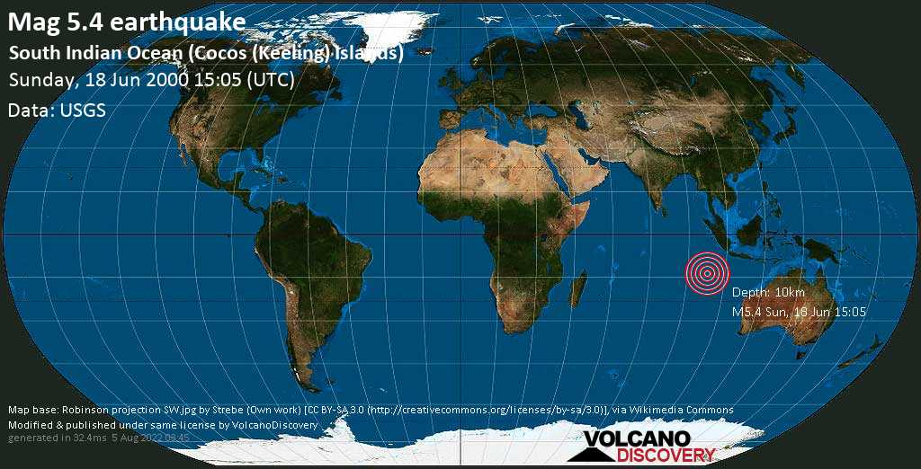 Strong mag. 5.4 earthquake - Indian Ocean, 171 km south of West Island, Cocos (Keeling) Islands, on Sunday, 18 June 2000 at 15:05 (GMT)