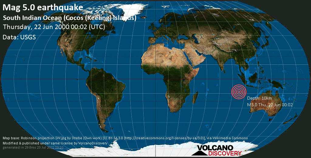 Strong mag. 5.0 earthquake - Indian Ocean, 129 km south of West Island, Cocos (Keeling) Islands, on Thursday, 22 June 2000 at 00:02 (GMT)