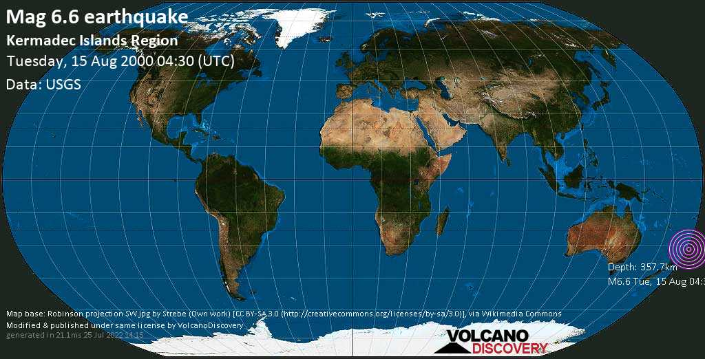 Strong mag. 6.6 earthquake  - Kermadec Islands Region on Tuesday, 15 August 2000 at 04:30 (GMT)