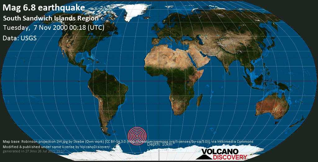 Strong mag. 6.8 earthquake  - South Sandwich Islands Region on Tuesday, 7 November 2000 at 00:18 (GMT)
