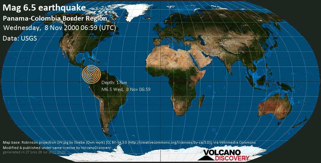 Very strong mag. 6.5 earthquake - North Pacific Ocean, 144 km southwest of Chigorodo, Antioquia, Colombia, on Wednesday, 8 November 2000 at 06:59 (GMT)