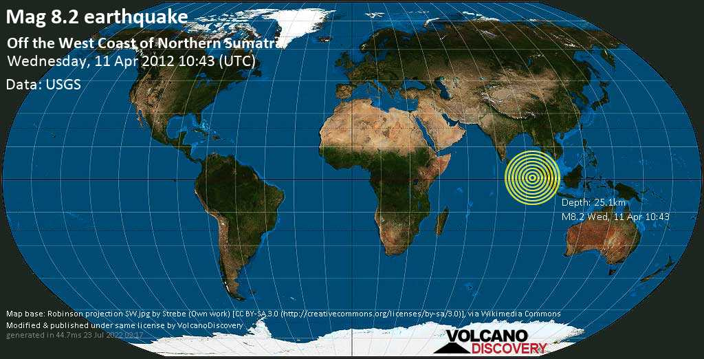 Great magnitude 8.2 earthquake  - Off the West Coast of Northern Sumatra on Wednesday, 11 April 2012 at 10:43 (GMT)