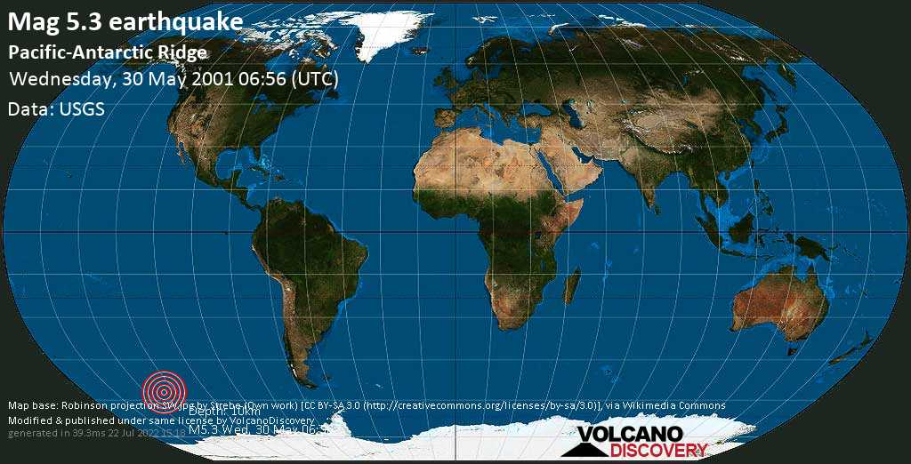 Moderate mag. 5.3 earthquake  - Pacific-Antarctic Ridge on Wednesday, 30 May 2001 at 06:56 (GMT)