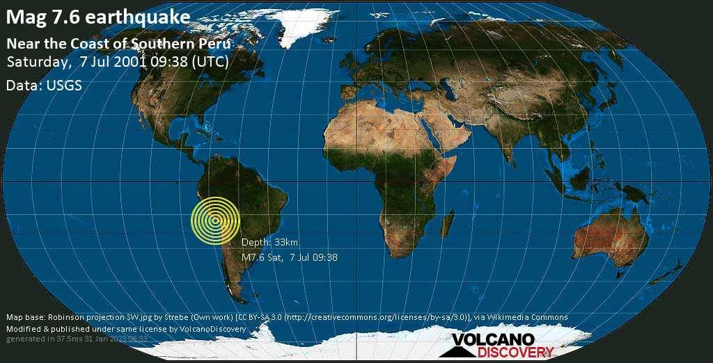 Major magnitude 7.6 earthquake - South Pacific Ocean, 79 km west of Ilo, Departamento de Moquegua, Peru, on Saturday, July 7, 2001 at 09:38 (GMT)
