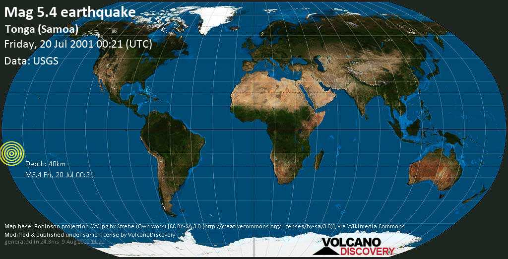 - South Pacific Ocean, 254 km southwest of Apia, Tuamasaga, Samoa, on Friday, 20 July 2001 at 00:21 (GMT)