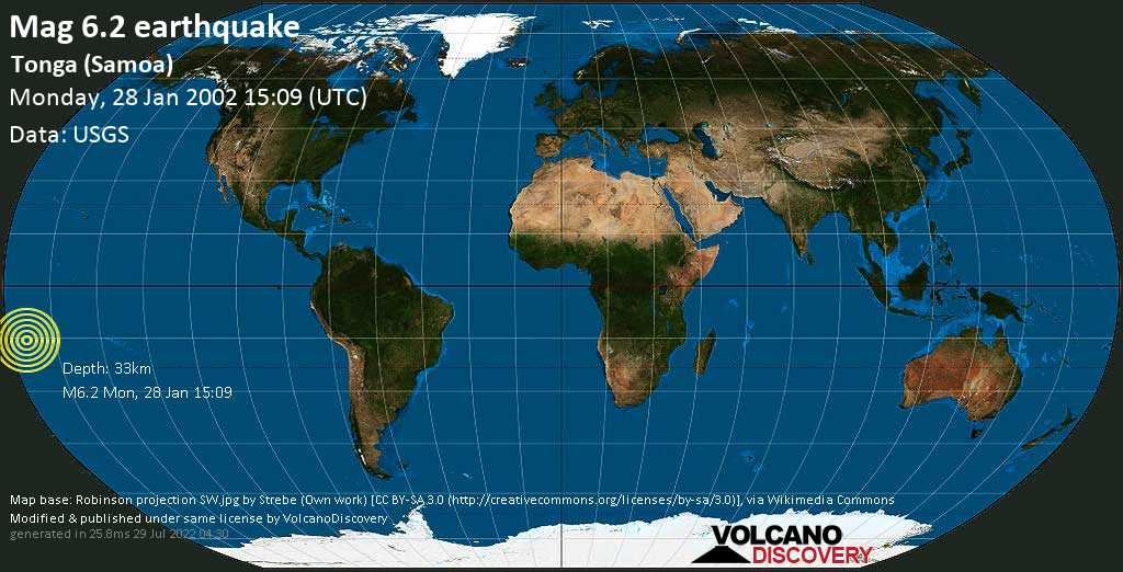 Strong mag. 6.2 earthquake  - Tonga (Samoa) on Monday, 28 January 2002 at 15:09 (GMT)
