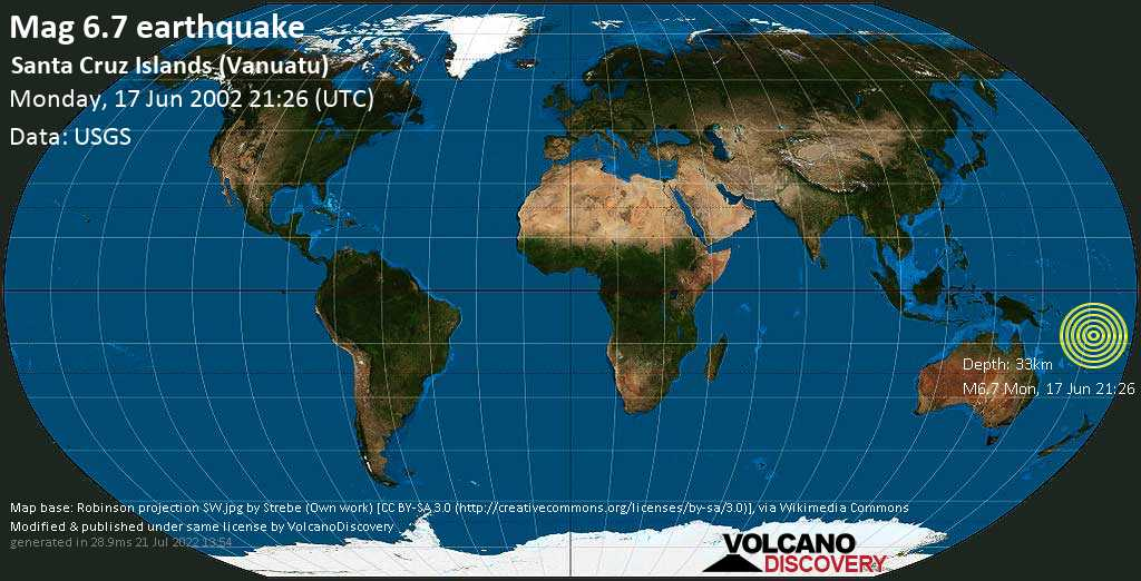 Strong mag. 6.7 earthquake  - Santa Cruz Islands (Vanuatu) on Monday, 17 June 2002 at 21:26 (GMT)