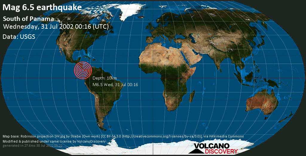 Strong mag. 6.5 earthquake  - South of Panama on Wednesday, 31 July 2002