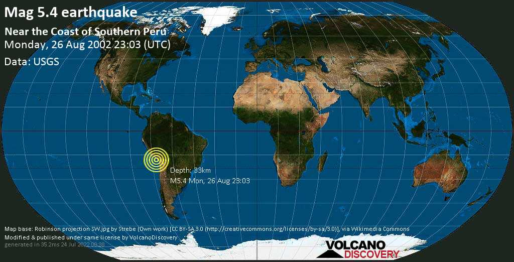 Moderate mag. 5.4 earthquake  - Near the Coast of Southern Peru on Monday, 26 August 2002 at 23:03 (GMT)