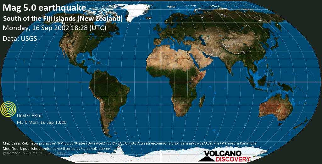 Moderate mag. 5.0 earthquake  - South of the Fiji Islands (New Zealand) on Monday, 16 September 2002 at 18:28 (GMT)