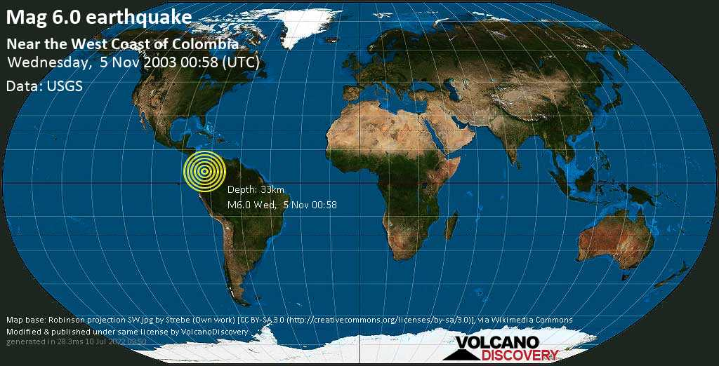 Strong mag. 6.0 earthquake  - Near the West Coast of Colombia on Wednesday, 5 November 2003 at 00:58 (GMT)