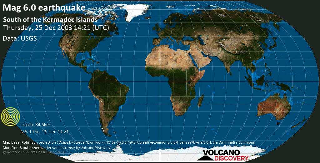 Strong mag. 6.0 earthquake  - South of the Kermadec Islands on Thursday, 25 December 2003
