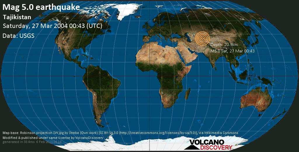 Moderate mag. 5.0 earthquake - 20 km east of Istaravshan, Viloyati Sughd, Tajikistan, on Saturday, March 27, 2004 at 00:43 (GMT)